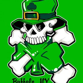 St. Patrick's Day Skull Screen Printed Tee Shirt
